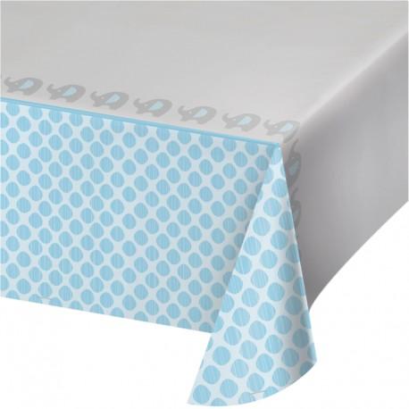 nappe en plastique el phant bleu pour bapt me d 39 instant eph m re. Black Bedroom Furniture Sets. Home Design Ideas