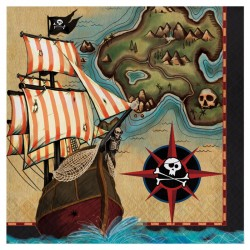 SERVIETTE EN PAPIER CARTE DE PIRATE, 2 PLIS