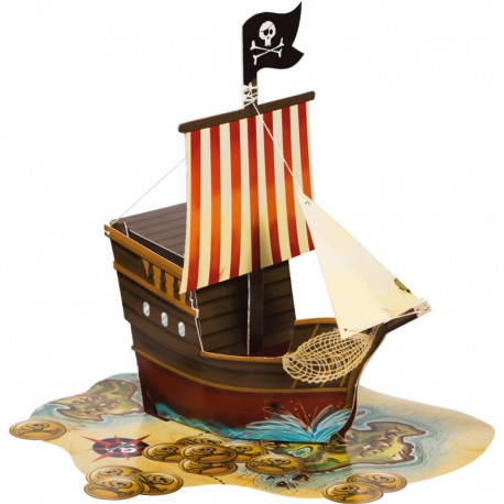 CENTRE DE TABLE BATEAU DE PIRATE EN 3D