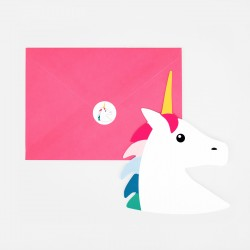 8 CARTES D'INVITATION LICORNE