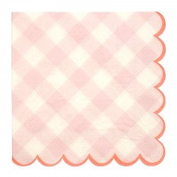 20 SERVIETTES VICHY ROSE